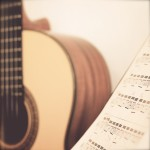 Guitar classic with stand note, retro filter effect